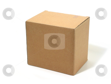 Blank box cardboard stock photo, Blank brown cardboard box isolated on white background by Elena Elisseeva