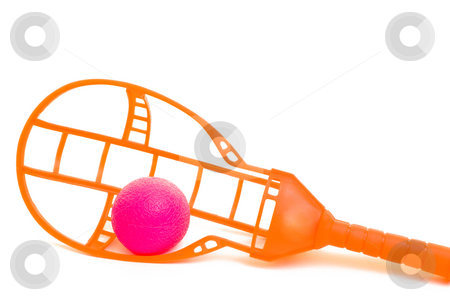 Catch stock photo, A pink ball being caught in an orange toy by Richard Nelson