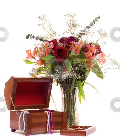 Flowers and Jewelry stock photo, A bunch of flowers and a box of jewelry, isolated on a white background by Richard Nelson