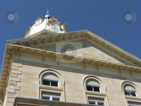Madison County Courthouse  stock photo, The Madison County Courthouse, located in the center of the Winterset, Iowa townsquare, was built in 1876 and the 120' clock town can be seen for miles around.  The town and courthouse is the setting for the famous romance novel and movie,