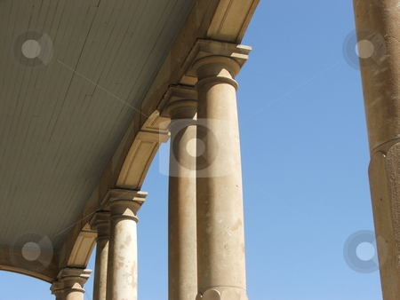 Roman columns in Iowa stock photo, The Madison County Courthouse, located in the center of the townsquare in Winterset, Iowa displays limestone column porticos on all four sides of the 1876 structure.  Winterset and the covered bridges of Madison County are the setting for