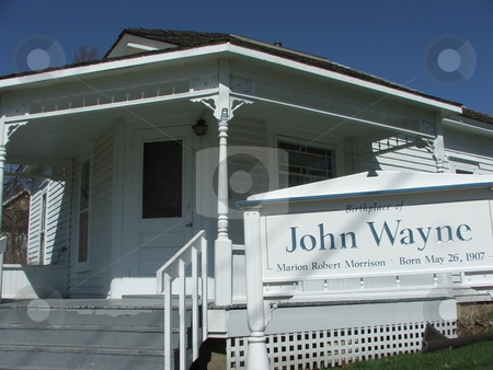 John Wayne birthplace stock photo, This small wood frame house in Winterset, Iowa is the birthplace of film star John Wayne (Marion Robert Morrison. Tours are available daily and a John Wayne Mueseum is in the planning stages (photo April 15, 2008). by Dennis Thomsen