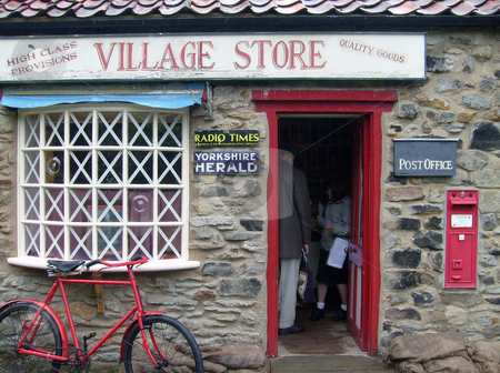 Old fashioned village shop stock photo, Old fashioned village shop in rural countryside of Yorkshire, England. by Martin Crowdy