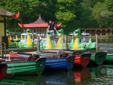 Boat house on boating lake stock photo, Boat house on boating lake in Peasholm Park, Scarborough, England. by Martin Crowdy