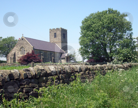 Church in countryside stock photo, Church in countryside scen, Yorkshire Dales, England. by Martin Crowdy