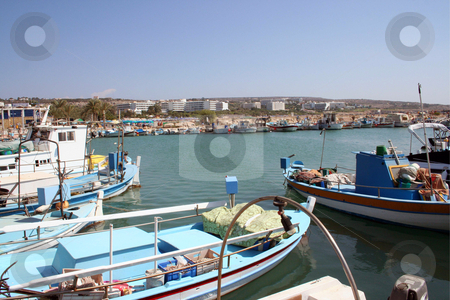 Ayia Napa Harbor Cyprus stock photo, Local fishing boats moored in Ayia Napa harbor on island of Cyprus. by Martin Crowdy