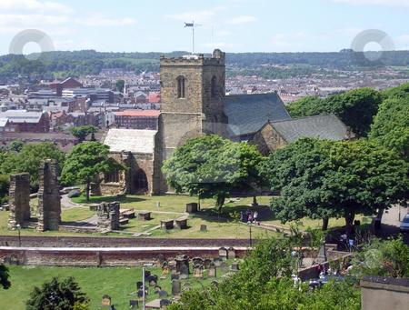 Saint Marys Church Scarborough stock photo, Saint Marys Church and graveyard, Scarborough, England. by Martin Crowdy