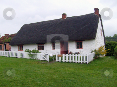 English thatched white cottage stock photo, PIcturesque English white thatched cottage in countryside. by Martin Crowdy
