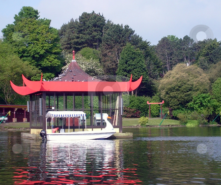 Bandstand on boating lake stock photo, Bandstand on boating lake in Peasholm Park, Scarborough, England. by Martin Crowdy