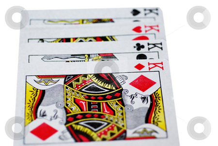 Four Kings stock photo, The four kings from a set of playing cards, isolated on a white background by Philippa Willitts