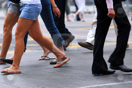 People walking stock photo, People walking on a busy street in the city center by Elena Elisseeva