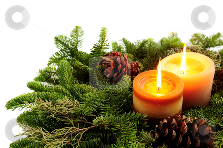 Christmas candles stock photo, Christmas arrangement of burning candles and green spruce branches on white background by Elena Elisseeva