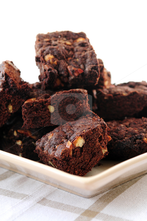Homemade chocolate brownies stock photo, Homemade chocolate brownies served on a plate by Elena Elisseeva