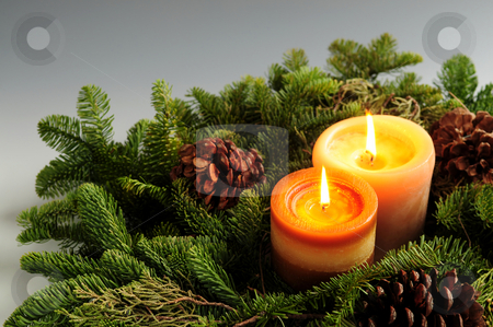 Christmas candles stock photo, Christmas arrangement of burning candles and green spruce branches by Elena Elisseeva