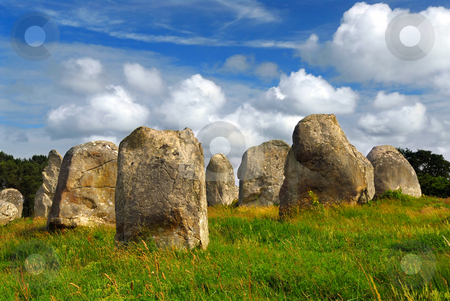 Megalithic monuments in Brittany stock photo, Prehistoric megalithic monuments menhirs in Carnac area in Brittany, France by Elena Elisseeva