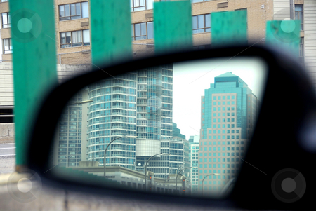 Car mirror stock photo, Reflection of a city in a car mirror on rainy day by Elena Elisseeva