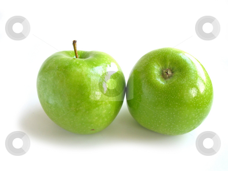 Green apple white stock photo, Two green apples on white background by Elena Elisseeva