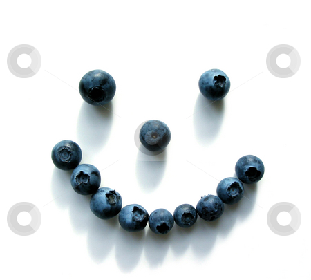 Blueberry smiley face stock photo, Smiley face made out of blueberries on white background...shadows add teeth:) by Elena Elisseeva