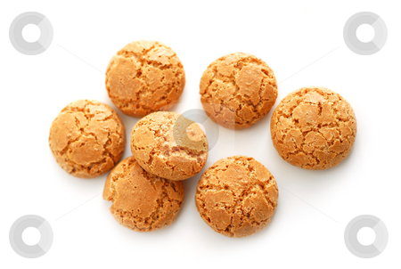Amaretti stock photo, Traditional italian almond cookies - amaretti, isolated on white background by Elena Elisseeva