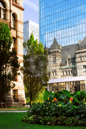 Toronto  stock photo, Reflection of old Toronto city hall building in a glass wall of a modern highrise building by Elena Elisseeva