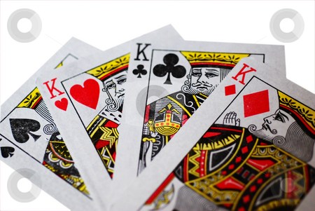 Fan of Four Kings stock photo, A fan of four Kings playing cards, isolated on a white background by Philippa Willitts