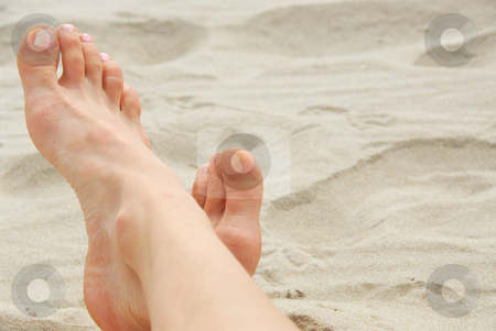 Woman feet beach stock photo, Woman's feet on a sandy beach by Elena Elisseeva