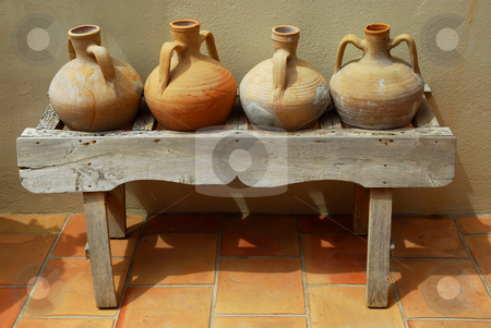 Amphoras  stock photo, Ceramic vases amphoras as home decoration at mediterranean villa by Elena Elisseeva