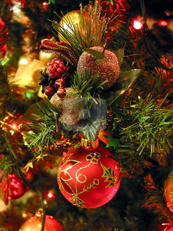 Christmas tree ornaments stock photo, Christmas tree ornaments on Christmas tree, closeup by Elena Elisseeva