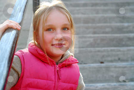 Girl portrait outdoor stock photo, Young girl sitting on concrete stairs by Elena Elisseeva