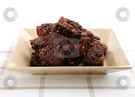 Homemade chocolate brownies stock photo, Homemade chocolate brownies served on a plate by Elena Elisseeva