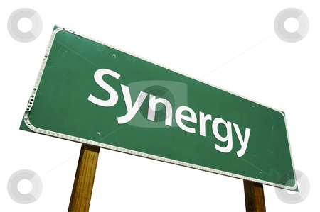 Synergy Road Sign with Clipping Path stock photo, Synergy Road Sign isolated on White with Clipping Path by Andy Dean