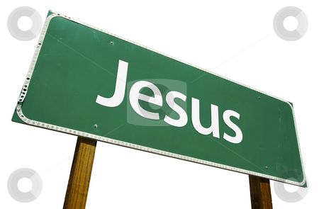 Jesus Road Sign with Clipping Path stock photo, Jesus Road Sign isolated on White with Clipping Path by Andy Dean