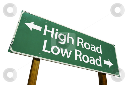 High Road, Low Road  - Road Sign with Clipping Path stock photo, High Road, Low Road  - Road Sign isolated on White with Clipping Path by Andy Dean