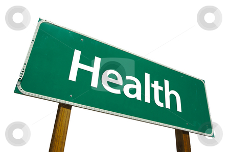Health Road Sign with Clipping Path stock photo, Health Road Sign isolated on White with Clipping Path by Andy Dean