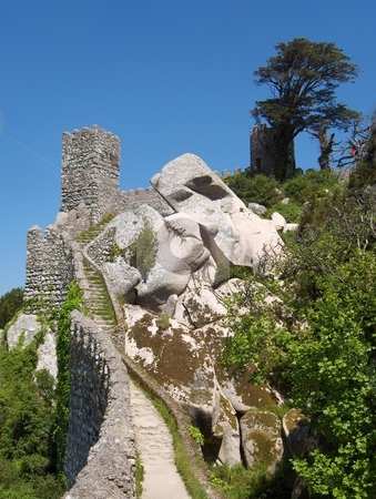 Hilltop Defences stock photo, A castle wall near Sintra, Portugal. by Jessica Tooley