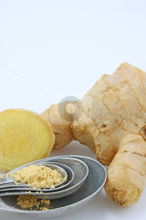 Ginger Root stock photo, Slice of fresh ginger root by Jessica Tooley