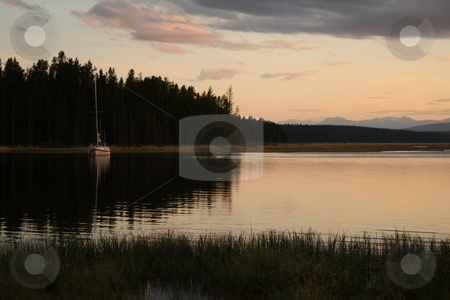 Lake Sunset stock photo, A sunset over a northern Canadian lake on a calm night by Jessica Tooley