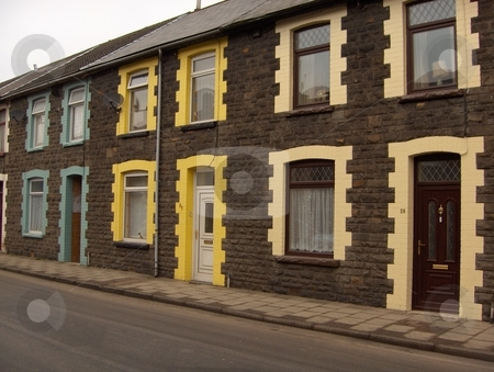Colorful Homes stock photo, The view down a street in a rural Welsh mining town. by Jessica Tooley