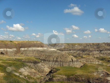 Badlands stock photo, The badlands near Drumheller, Alberta, Canada, where many fossils are found. by Jessica Tooley