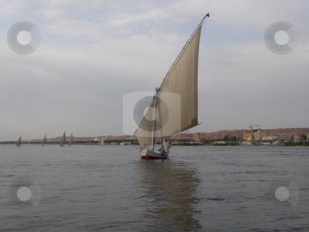 Felucca on the Nile stock photo, Sailboat on the Nile in Egypt. by Jessica Tooley