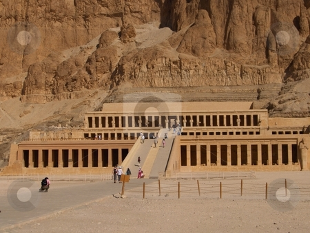 Temple of Hatchepsut stock photo, Hatchepsut's temple in Egypt, scene of a deadly terrorist attack in the 1990's by Jessica Tooley