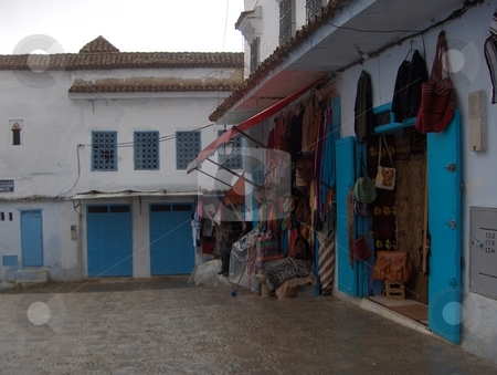 Blue Walls stock photo, Street in Chefchouen, the blue city in the Rif Mountains of Morocco by Jessica Tooley