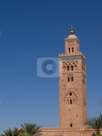 Minaret stock photo, Minaret of mosque in Marrakesh, Morocco. by Jessica Tooley