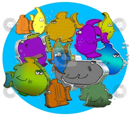 3D Fish stock photo, This illustration depicts a group of cartoon fish in 3 dimension. by Dennis Cox