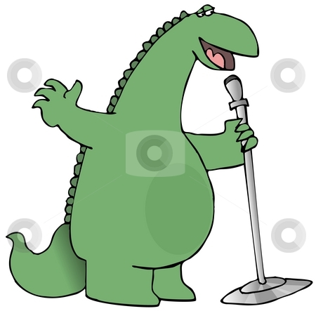 Singing Dinosaur stock photo, This illustration depicts a green dinosaur singing into a microphone. by Dennis Cox