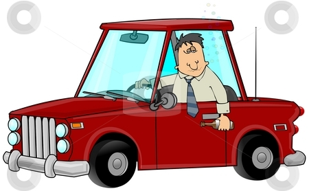 Drunk Driver stock photo, This illustration depicts a drunk man driving a car with his arm out the window holding a beer can. by Dennis Cox