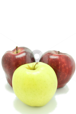 Three Apples stock photo, Three apples, two red and one yellow, isolated on white. by Jessica Tooley