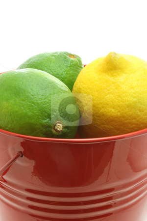 Cheerful Citrus stock photo, Close up of two limes and one lemon in a red bucket, isolated on white. by Jessica Tooley