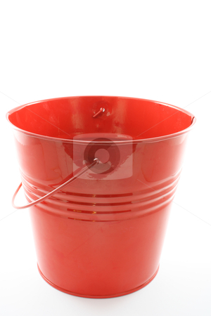 Red bucket stock photo, A red tin bucket, isolated on white. by Jessica Tooley