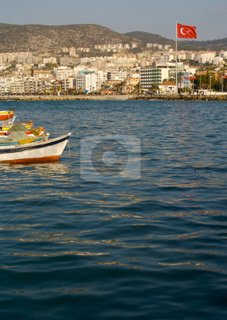 Turkish Harbor stock photo, Turkish Harbor, Boats & Flag by Andy Dean